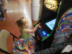 People really got into the spirit of ZapCon this year, including this little cutie, whose amazing mother made her a custom pinball dress! There were at least a dozen other arcade- or pinball-themed dresses and skirts on ladies of all ages, but this one was the very cutest!