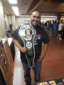 ZapCon, the only convention cool enough to give away TWO championship belts. This one was for the winner of the Random Fighters arcade challenge, where competitors tested their mettle on Street Fighter games. It was sponsored by This Old Arcade.